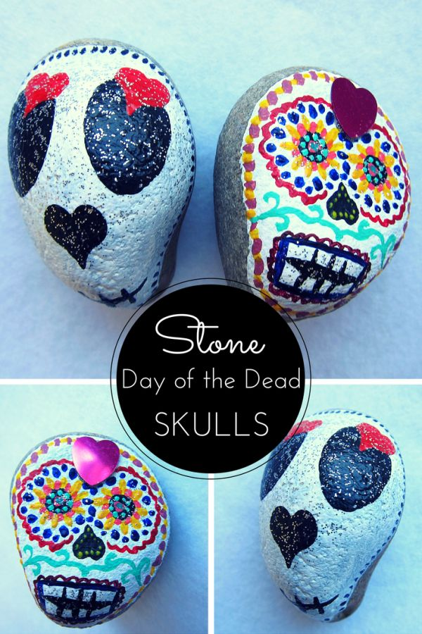Painted stone day of the dead skulls. I want to paint these and then leave them around town on the ground for people to find.