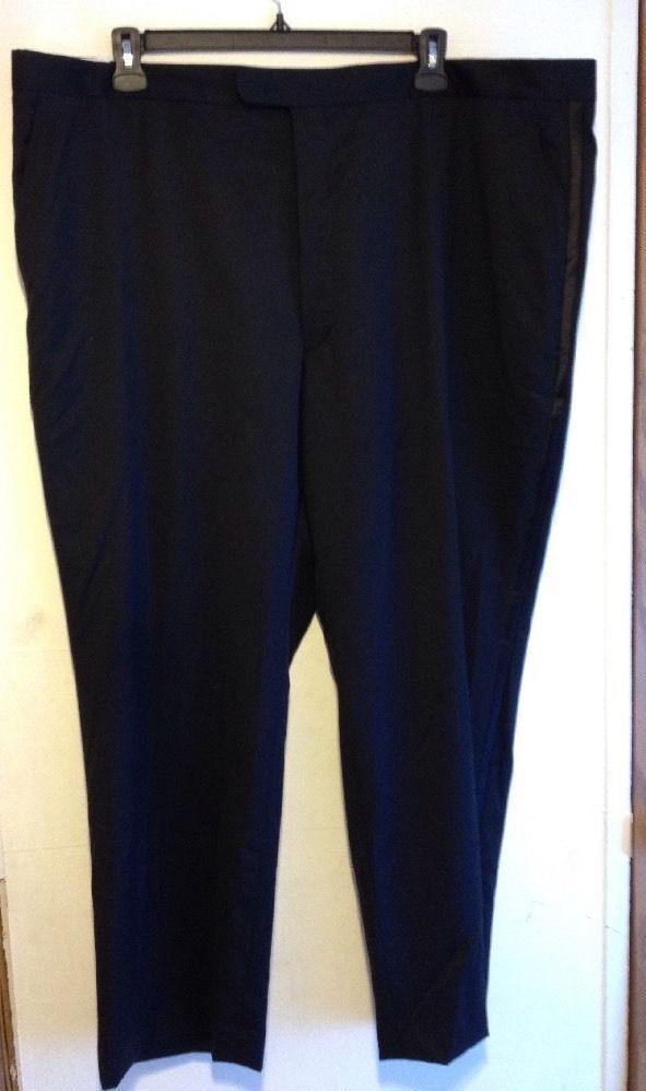 NWT STAFFORD Men Wool Suit Separates Dress Pants Black Flat Front Big Tall 48x30 #Stafford #DressFlatFront #DressPants #Black #48x30 #Men #SuitSeparates