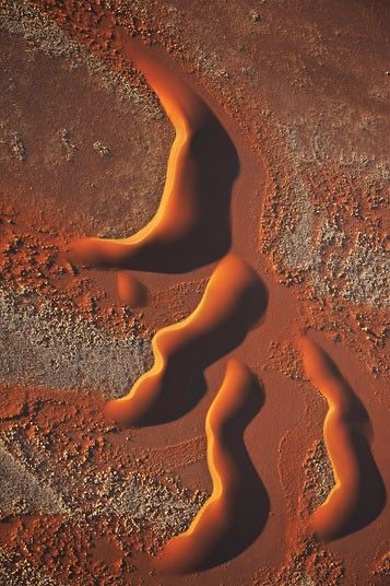 Africa from the air: Martin Harvey's aerial photographs of African landscapes   and wildlife.  An aerial view of dunes in the Namib-Naukluft National Park, Namibia  Picture: Martin Harvey / Barcroft Media