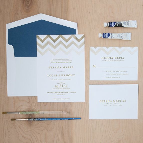 Chevron Wedding Invitation, Modern Invitation, Watercolor Invitation, Elegant Invitation