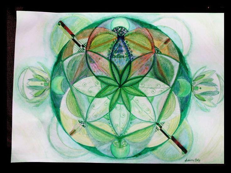 Mandala en Lapices acuareables by Mantra Tara Verde, Mantra Budista