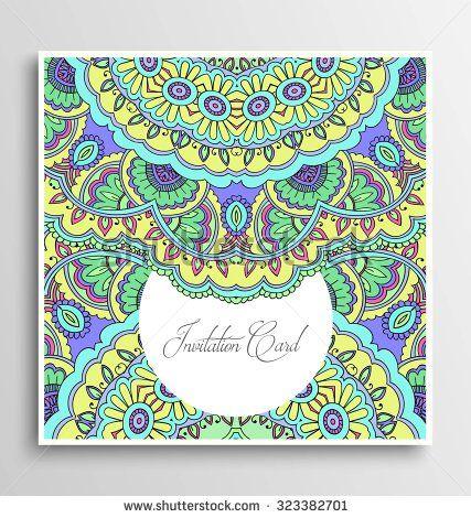 Vector invitation card, floral circular design, pattern, wedding invitation
