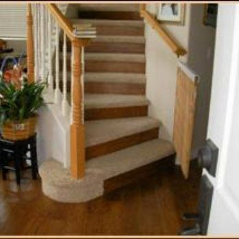 Custom staircase with Carpeted treads and Wood flooring risers. | Yelp