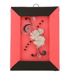 Description: Greeting - picture, with decoration made of paper, in different colors and forms, using quilling technique.  Dimensions: 22x14 cm