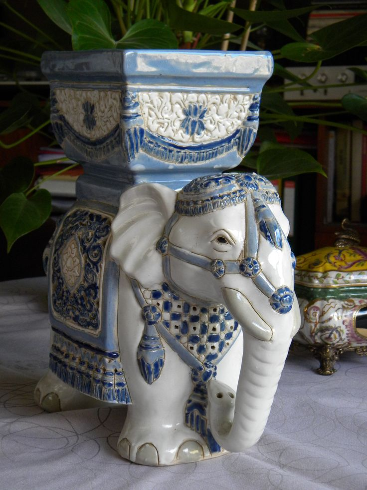 Blue And White Ceramic Elephant Planter Vintage Decor