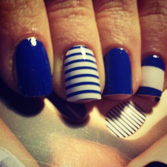 Ongle en gel deco marin - Ongle bleu marine ...