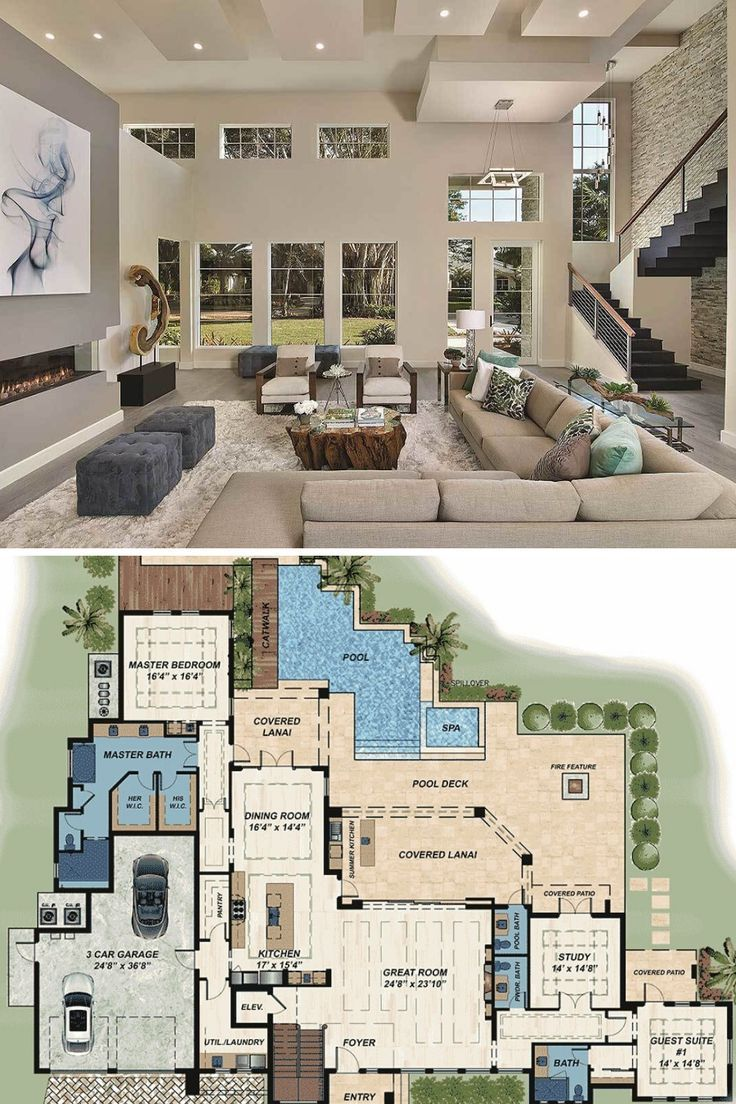 Two Story 4 Bedroom Modern Florida Home Floor Plan Mansion Floor Plan House Construction Plan Modern House Floor Plans