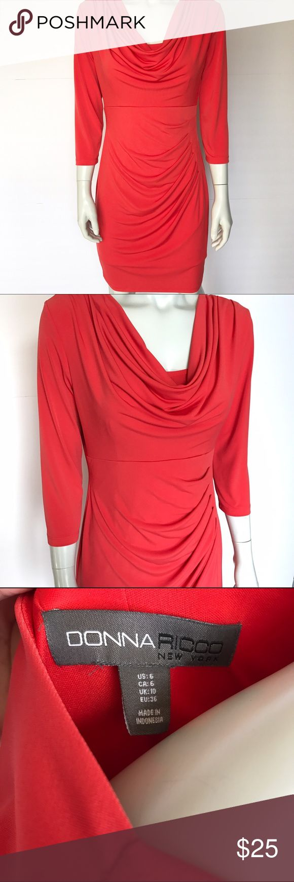 Donna Rocco orange cowl neck dress This beautiful, stretchy orange dress has a cowl neck. Rushing to one side for a flattering look. So soft, comfortable, and elegant! Can be dressed up or down. Three quarter length sleeves. Gorgeous, versatile dress! Donna Ricco Dresses Long Sleeve