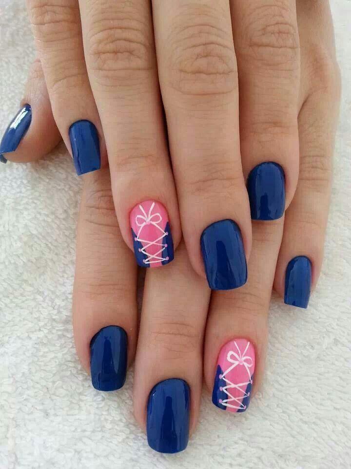 Blue Nail Polish Manicure Designs: Royal Blue - Pink - White - Corset - Nail Design