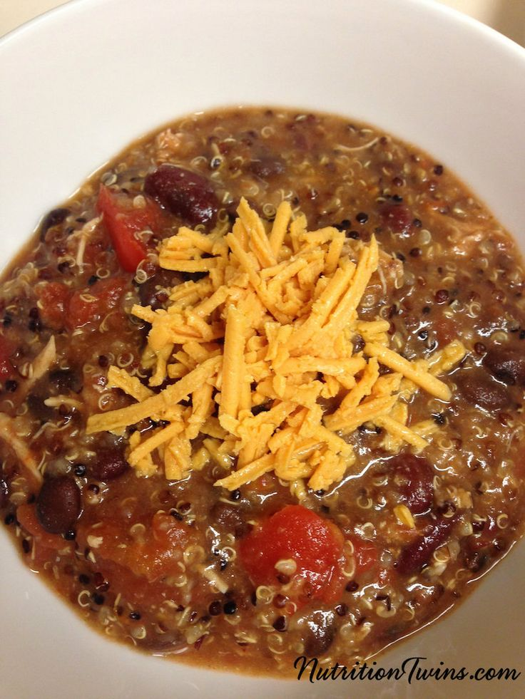 Slow Cooker Quinoa Chicken Chili | Only 313 Calories/ Entire Satisfying Meal | Super Easy,Great For Hectic Days | For MORE RECIPES please SIGN UP for our FREE NEWSLETTER www.NutritionTwins.com