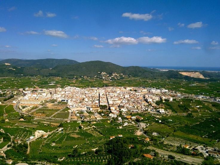Panorámica de Pego desde el castillo de Ambra.
