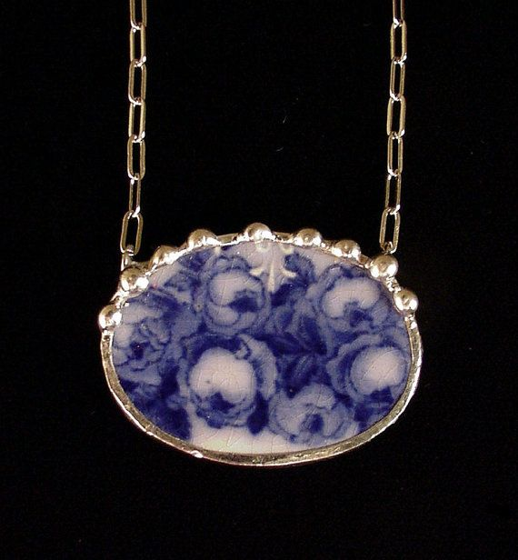 1880's Flow Blue roses. Broken china jewelry necklace. Made from a broken china plate by Dishfunctional Designs