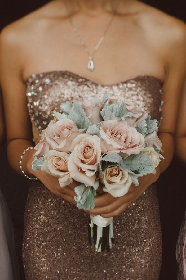 Love the contrast of the glamorous rose gold bridesmaid dress and muted pale tones in the bouquet