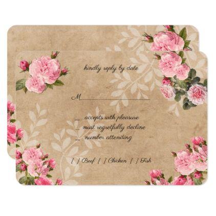 Elegant Vintage Pink Roses Wedding Response Card - wedding invitations diy cyo special idea personalize card