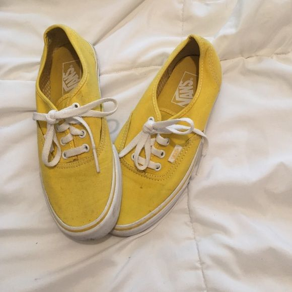 Yellow vans, women's size 7.5 / men's size 6 They are lightly worn, but could easily look new after a wash! (I could do it before selling them if you want- I just need to figure out how) They're in really good shape though. I'm listing them at $20 or best offer!!! Vans Shoes Sneakers
