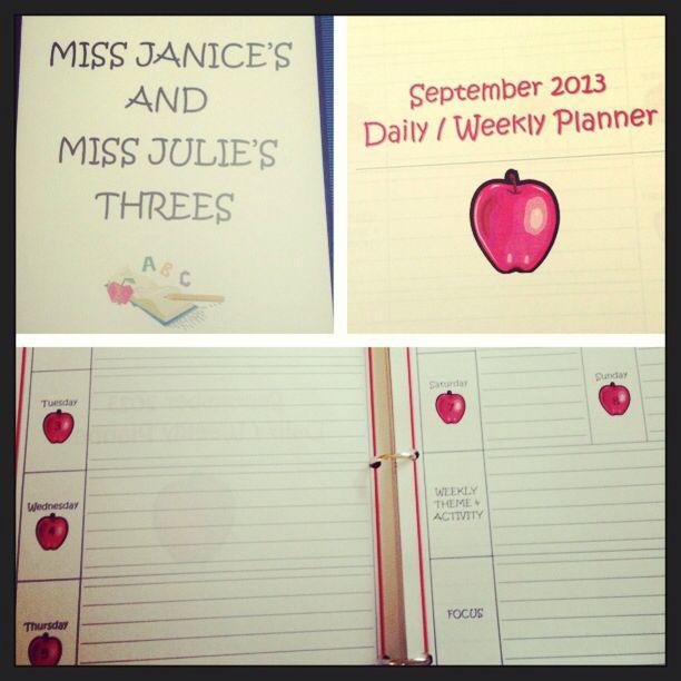 Daily prek planner/organizer! | Preschool | Pinterest