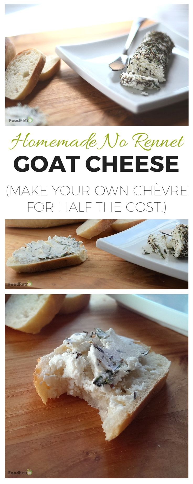 This homemade goat cheese is simple to make! Anybody with a thermometer and an hour of time can do it. No special cheese-making kit or rennet is required, making it an ethical vegetarian chèvre you can crust however you like. And best of all, even with store bought ingredients, it's super frugal--less than half the cost of buying it ready made!