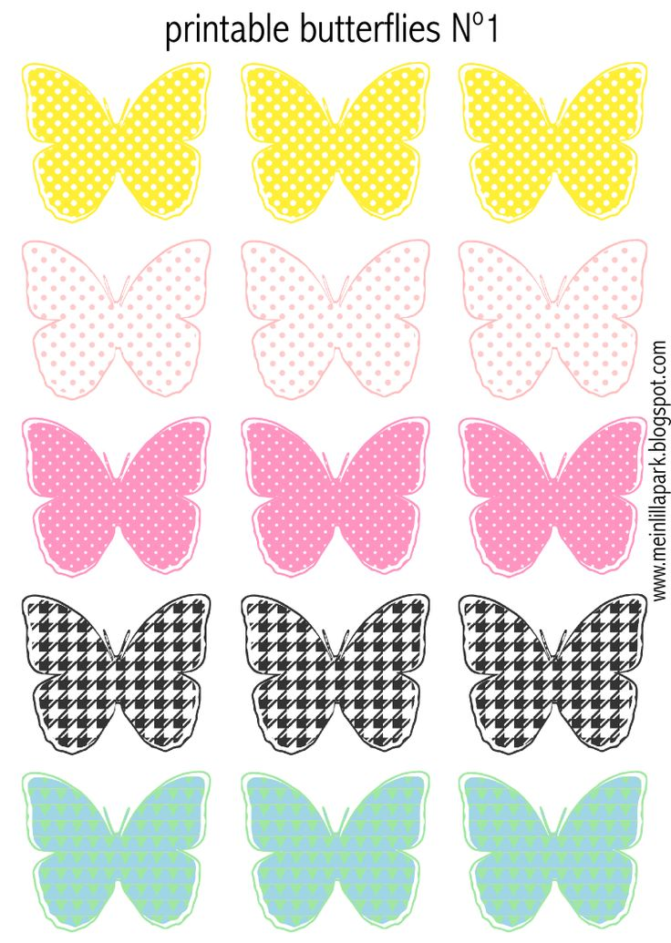 FREE printable sweetly colored butterflies (- perfect for DIY garlands ^^)