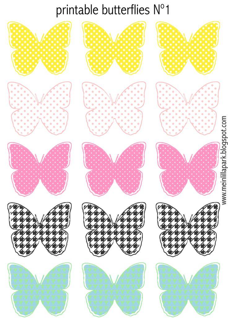 Gratuites imprimables pastel papillons colorés - Schmetterling Druckvorlagen - freebie | MeinLilaPark - printables et téléchargements de bricolage