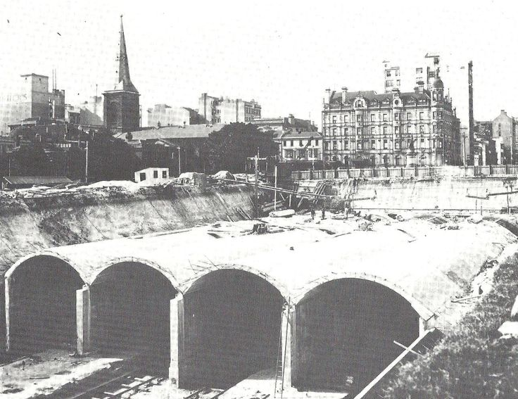 4 unfinished tunnels at St James, Jan 1925. The middle 2 are the ghosts