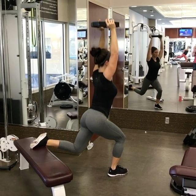 Try this leg circuit next time you have a lower body day - Complete 4 Rounds: 5-7 overhead Bulgarian split squats 10 (each leg) cable kick backs 30 seconds bench jumps - Form tips If you're new to weight lifting, try the split squats without the weight overhead Holding the weight overhead will isolate the glutes. If you want a more quad isolated split squat, use dumbbells at your side For the cable kickbacks, I feel more glute isolation when I use the bench, you can always stand ...