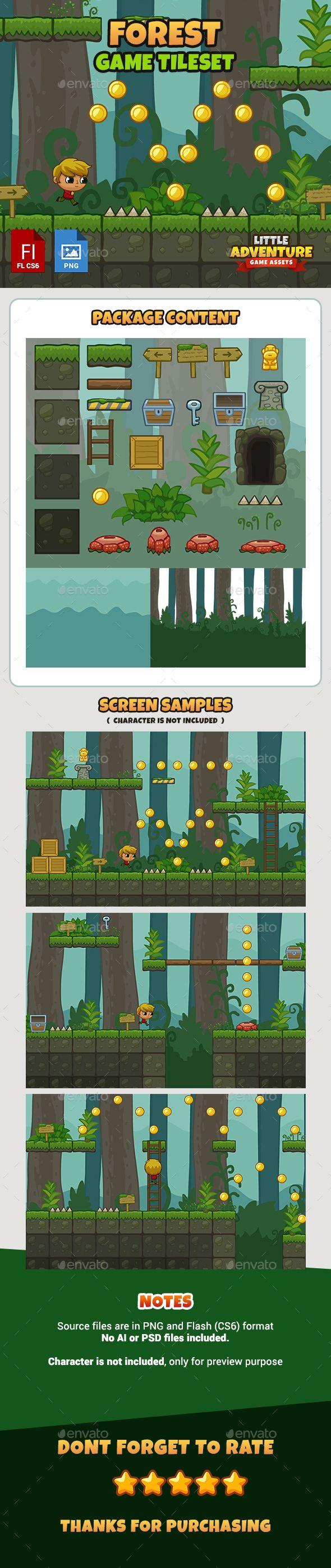 Forest #Game Tileset - Tilesets Game Assets Download here:  https://graphicriver.net/item/forest-game-tileset/16353547?ref=alena994