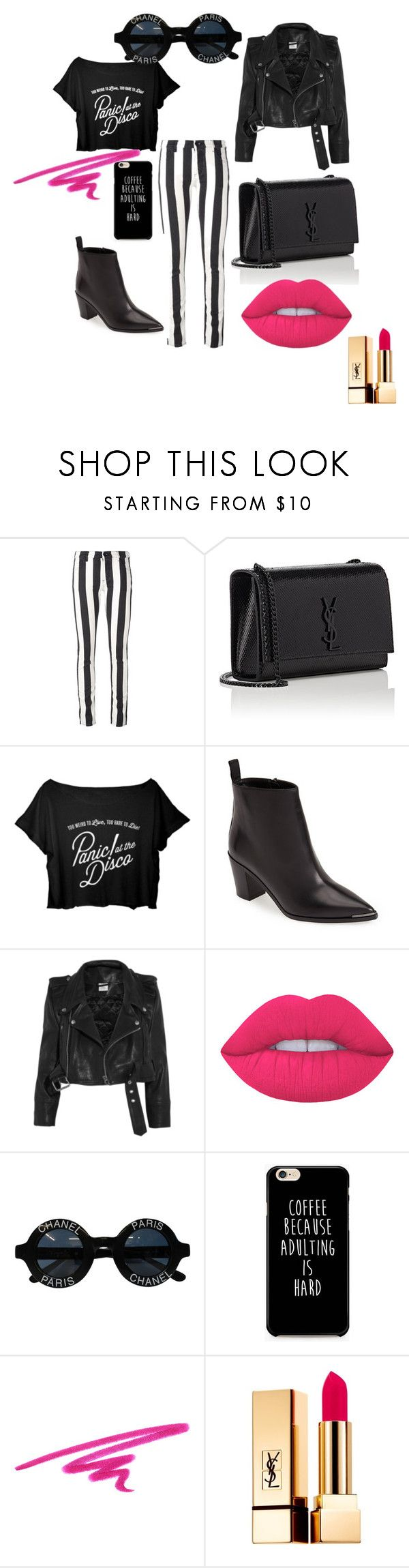 Disco Punk by gunhild on Polyvore featuring Vetements, Off-White, Acne Studios, Yves Saint Laurent, Chanel, Lime Crime and NARS Cosmetics