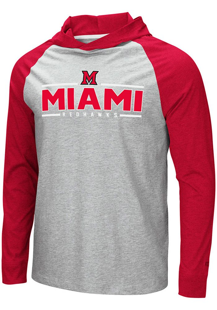 Colosseum Miami Redhawks Mens Grey Slopestyle Long Sleeve Hoodie, Grey, 52% COTTON / 48% POLYESTER, Size 2XL