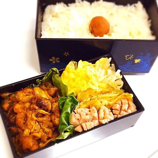タレつけてー。韓国弁当ー。 - 5件のもぐもぐ - 豚キムチ。もやしナムル卵巻き。チヂミ。ウィンナー。 by kobayashiySFz