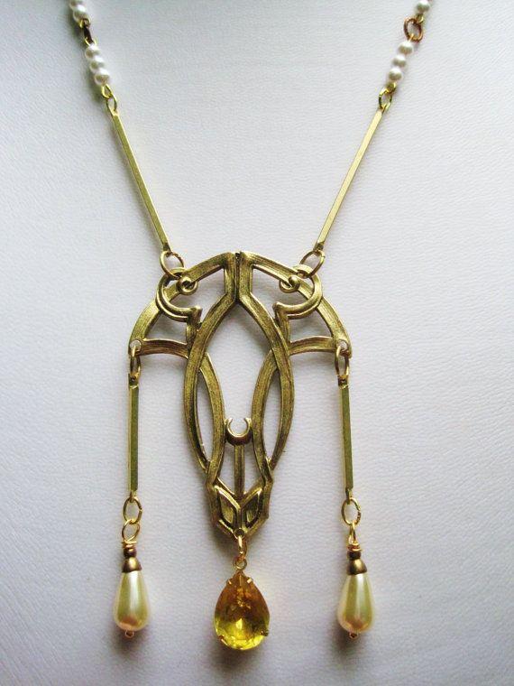 Art Déco Halskette 1920er Jahre Vintage-Stil-Anweisung Collier mit Jahrgang Stein und Perle Anhänger