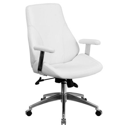 Flash Furniture Mid-Back Black Leather Executive Swivel Office Chair, White