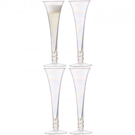 PROSECCO Flute x 4  Encircled with a spiral of clear glass, these hollow stem flutes are handpainted with a mother of pearl lustre. The iridescent finish is ideal for serving sparkling drinks at parties. Gift-boxed in a set of four.