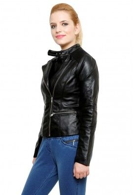 LEATHER JACKET WITH PANELLED SLEEVES