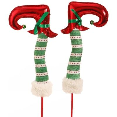 """RAZ 18"""" Red and Green Polka Dot Elf Legs with Red Feet Set of 2 Red, White, and Green Made of Polyester Measures 18"""" X 1.5"""" X 2"""" RAZ Everything Merry Collection"""