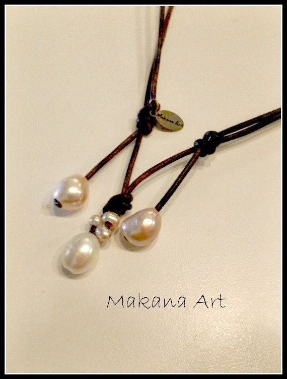 Free Shipping - White n Cream Adjustable Drop Fresh Water Pearl Leather Necklace