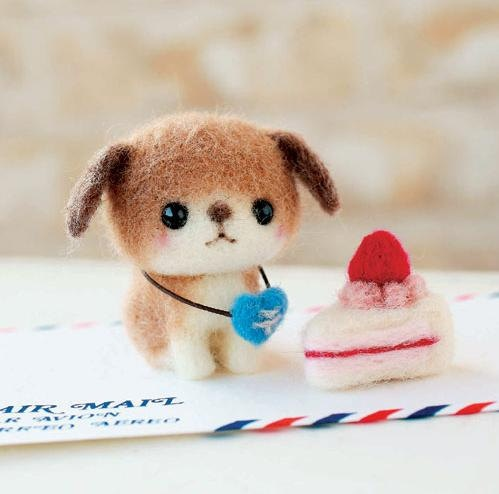 Needle Felting Kit / Needle Felted  Kawaii Dog and by Harenohi, $18.00