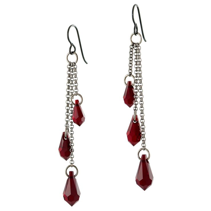 Drops of Blood Earrings | Fusion Beads Inspiration Gallery - I used brighter colored silver and light siam pear shape swarovski crystals.