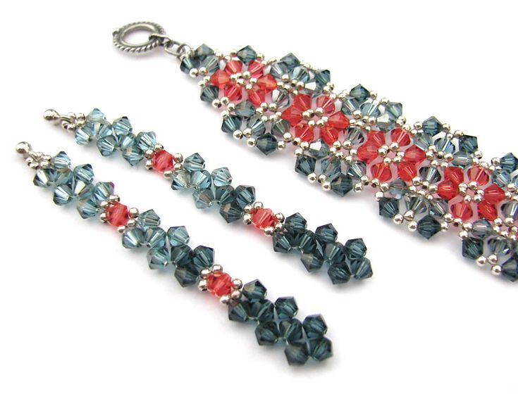 "Bracelet and earrings for my mum - Swarovski crystals and sterling silver (Joetta Payne's ""Sparkling Garden"" pattern)"