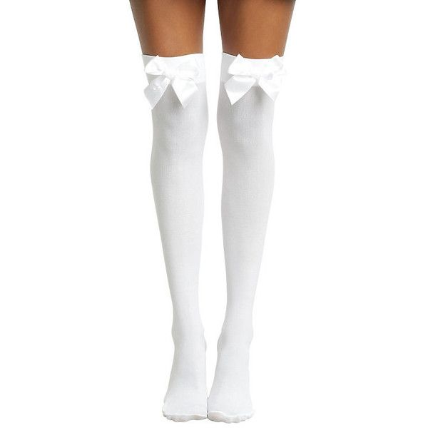Hot Topic Blackheart White With White Bow Thigh Highs (7.40 CAD) ❤ liked on Polyvore featuring socks