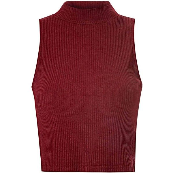 Burgundy High Neck Ribbed Top found on Polyvore featuring tops, shirts, tank tops, crop top, red, fish tank, women tops, crop tank top, red shirt and red tank top