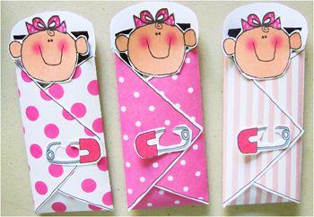 Crafty Ideas of Homemade Baby Shower Favors. Idea: Mini Hersheys Bar, Shower Napkin, Print little faces & Safety Pin.