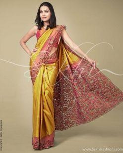 Yellow & Pink Kanchivaram Silk Saree