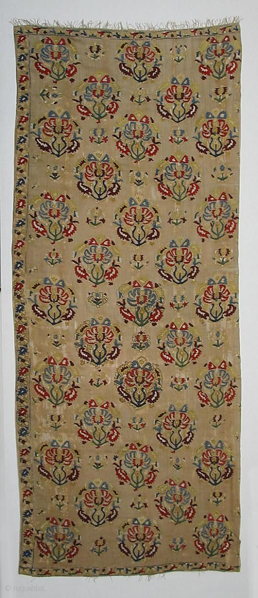 Object Name: Cover, fragment Date: 18th century Geography: Turkey Medium: Silk on linen Dimensions: 82.25 in. high 34.50 in. wide (208.9 cm high 87.6 cm wide) Classification: Textiles-Embroidered Credit Line: Gift of Harry G. Friedman, 1951 Accession Number: 51.10.1