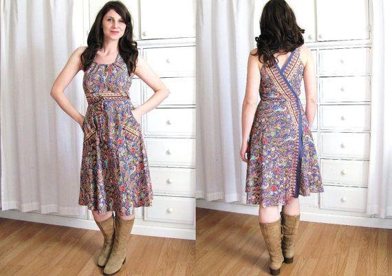 70s Boho Dress / Batik Dress / 1970's Wrap Dress by Coldfish