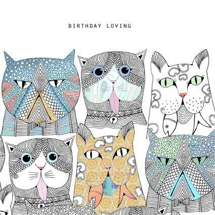 Greetings card - Cheeky birthday kitty cats by Hannah Davies illustration