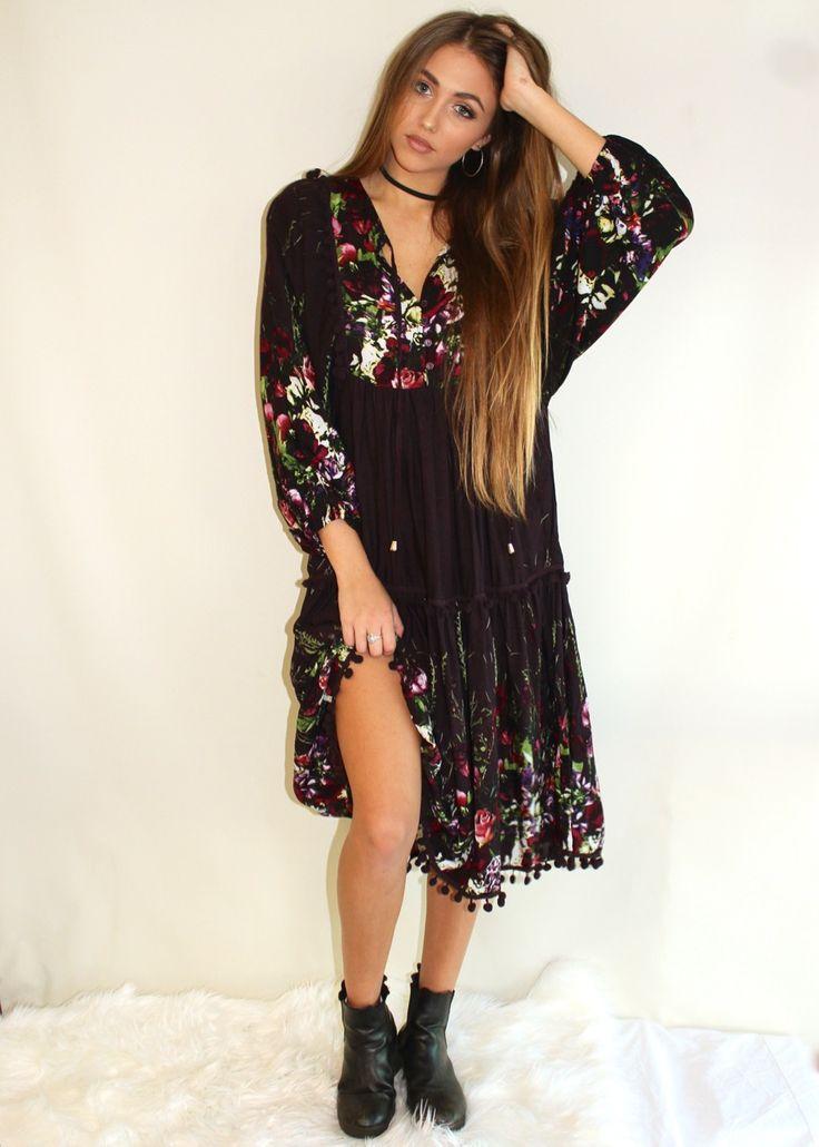 Cute Boho Midi Dress in Plum with floral detailing from Shine Boutiques // AU$79 //  #Shine #Boutiques #Sunshine #Coast Fashion