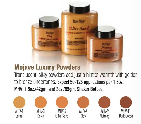 mojave luxury powders ie.banana powder for olive and brown skin tones