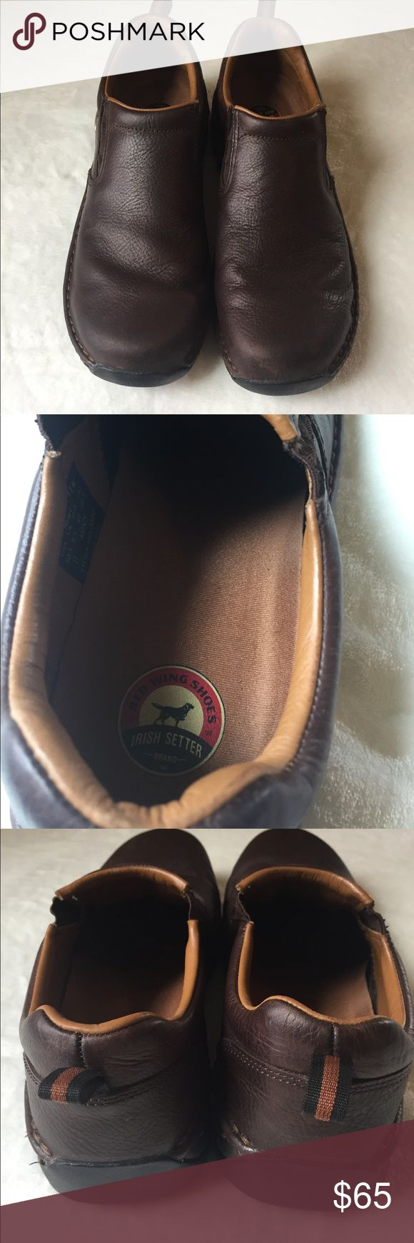 🍀 Irish Setter Hunt Brown Leather Men  Sz 10.5 These shoes are like new, excellent condition! Features:  🗝Slip in 🗝Oil Resistant  🗝Slip Resistant 🗝Work Shoes Irish Setter Shoes Loafers & Slip-Ons
