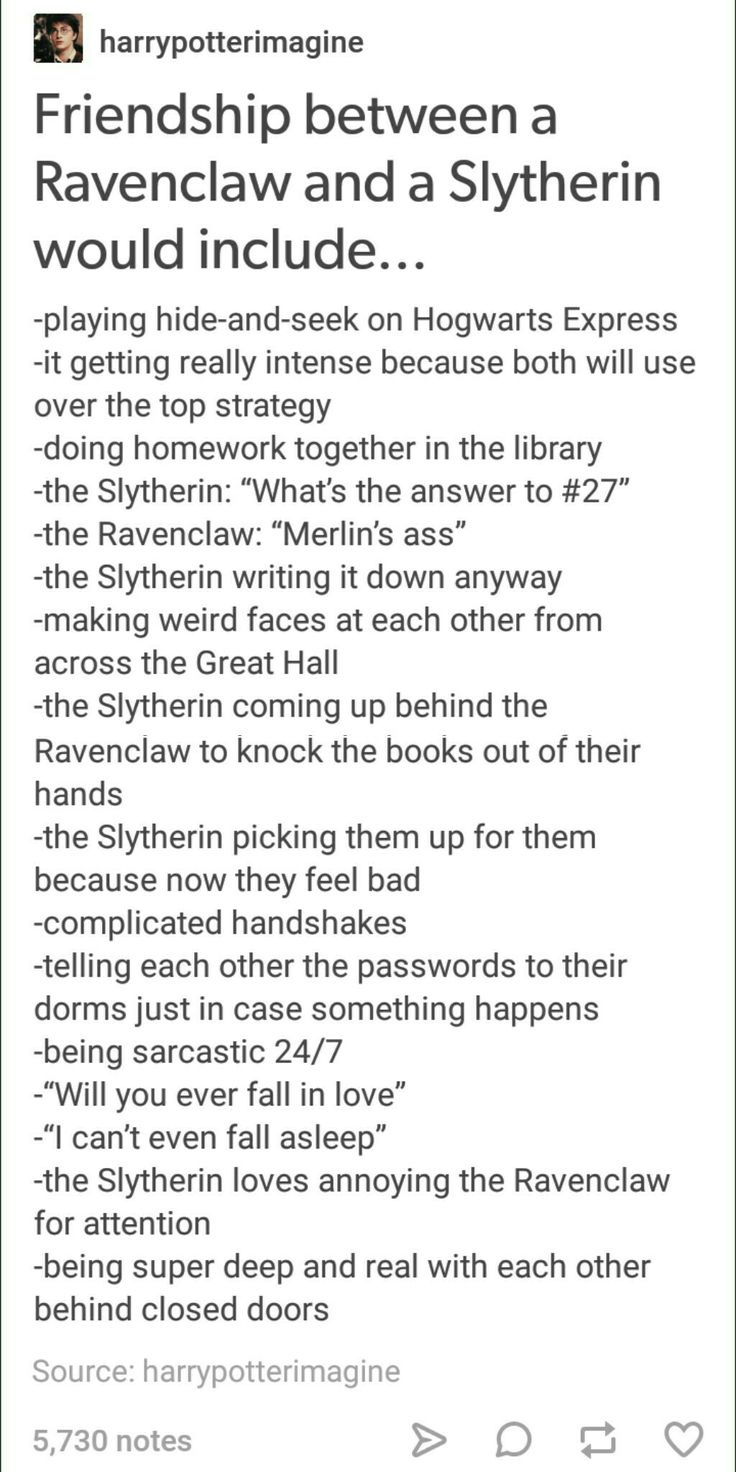 Slytherin + Ravenclaw friendship