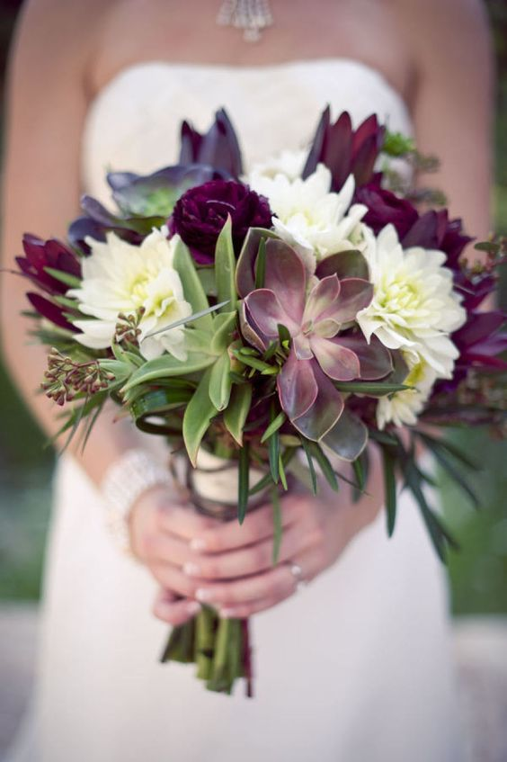 Olive, Mulberry and Gold Wedding Inspiration - green and purple wedding bouquet. #weddingbouquet